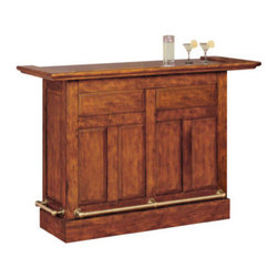 "Powell - Brandon Warm Cherry Wood Finish Bar - Brandon Warm cherry wood finish Bar.  Old English panel and frame design with removable full overhang framed granite top and antique brass finished foot rails. Storage features and functions includes 2 drawers for barware and utensils, 2 doors with shelves behind, 3 stemware racks for up to 12 wine glasses depending on size). Additionally, 2 adjustable shelves in the center section of the bar offer 4 bottle storage on one side and flat shelf space on their reverse side. Finished in a lightly distressed warm cherry with a satin sheen. Bar measures:  60-3/8"" x 24-1/8"" x 42-1/4"" tall.  Top assembly only."