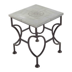 Kathy Kuo Home - Westerly Industrial Zinc Wrapped Iron End Side Table - We can't decide if this end table is more gorgeous from the top or from the side!  With a zinc top detailed with decorative brads, the top is a fantastic example of industrial style done with flair.  The base, however is a visual treat, creating a frame of interconnected ovals of iron.  Eclectic, vintage and industrial spaces will find this a welcome addition.