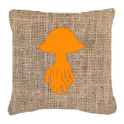 Caroline's Treasures - Jellyfish Burlap and Orange Fabric Decorative Pillow Bb1089 - Indoor or Outdoor Pillow from heavyweight Canvas. Has the feel of Sunbrella Fabric. 18 inch x 18 inch 100% Polyester Fabric pillow Sham with pillow form. This pillow is made from our new canvas type fabric can be used Indoor or outdoor. Fade resistant, stain resistant and Machine washable..