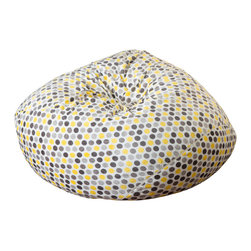 Great Deal Furniture - Ashley 3Ft Yellow Polka-dot Fabric Bean Bag Chair - Lounge in style with the Ashley 3-foot polka-dot bean bag. The plush fabric makes this an inviting piece for any adult or child. Its microfiber fabric is soft to the touch and the bold color combination will add a twist to almost any decor. Made in the United States with an eco-friendly foam filler, this bean bag offers a luxurious and comfortable option to your in home lounging experience.