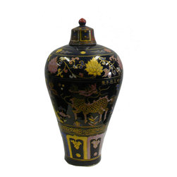 Golden Lotus - Chinese Black Color Doped Kirin Flower Porcelain Jar - This is an old reproduction porcelain vase in fat body and small base shape. The surface is oriental flower and Kirin graphic in thick color pigment.