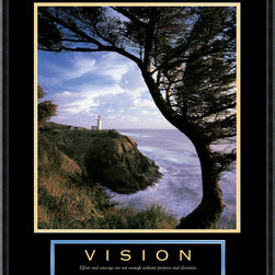 Amanti Art - Vision: Lighthouse Framed Print - The sweeping view of the ocean and lighthouse from the cliff's edge is hypnotizing. And the accompanying inspirational quote will serve as a gentle reminder to keep your life focus clear.
