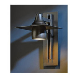 Hubbardton Forge - Hood 567 Dark Sky Outdoor Wall Sconce - Hood 567 Dark Sky Outdoor Wall Sconce features  Dark Smoke, Bronze, or Black finishes. Dark Sky Ordinance was developed as an outdoor lighting standard that reduce glare, light trespass, and sky glow. One 100 watt, 120 volt A19 type Medium base incandescent bulb is required, but not included. UL listed for wet locations. 10 inch width x 16 inch height x 12.8 inch depth.
