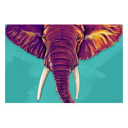 """Maxwell Dickson - Maxwell Dickson """"Elephant in the Room""""  Animal Canvas Artwork Wall Art Print - We use museum grade archival canvas and ink that is resistant to fading and scratches. All artwork is designed and manufactured at our studio in Downtown, Los Angeles and comes stretched on 1.5 inch stretcher bars. Archival quality canvas print will last over 150 years without fading. Canvas reproduction comes in different sizes. Gallery-wrapped style: the entire print is wrapped around 1.5 inch thick wooden frame. We use the highest quality pine wood available."""