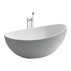 ADM - ADM White Stand Alone Solid Surface Stone Resin Bathtub, Glossy - SW-131L