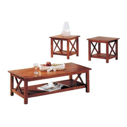 "CST5907C - 3 Pc Brown Finish Wood Coffee And End Table Set With Cross Design Legs - 3 pc brown finish wood coffee and end table set with cross design legs.  Coffee table measures 47"" x 23"" x 16"" H.  End tables measure 22"" x 22"" x 21"" H.  Some assembly required.  Also available in an espresso finish,  sofa table also available separately."
