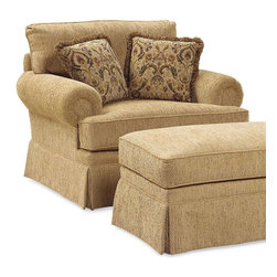 Fairfield Chair Company - Loose Back Lounge Chair (Fabric: Taupe) - Fabric: Fabric: TaupeDesign elements including a skirted base and rolled arms bring a warm, inviting look to this classic lounge chair, an appealing addition to any decor. Available in a wide range of fabric options, the chair also includes two complementing accent pillows for added comfort and interest. Ottoman not included. Two 18 in. pillows included. Standard ultra plush cushion. Loose seat. Made from hardwood and fabric. Seat Height: 21.5 in.. Arm Height: 27.5 in.. Seat Depth: 22 in.. Inside Width: 28.5 in.. Overall: 48 in. W x 43 in. D x 40.5 in. H. Pillow: 18 in. L x 18 in. WSooner or later our existing home furnishings lack luster and style and we yearn for updated styles, softer leathers and more colorful fabrics. The upholstered chair collection by Fairfield allows more flexibility in these decorating choices to meet your individual needs. Whether it is refurnishing an existing den or updating a home office, browse through our wide variety of chairs and you'll soon notice that we have a style to suit all your needs.
