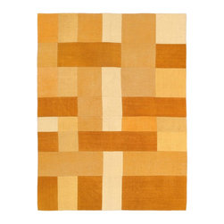 """Torabi Rugs - Flat-weave Bohemian Orange Wool Kilim 4'11"""" x 6'7"""" - This patchwork rug is made of vintage classic kilim pieces which are sewn together to form a truly one of a kind larger rug. This quirky and eclectic piece is painstakingly hand stitched. Light weight, this can also be used as a bedspread or throw. A colorful and updated vision of style, color and texture."""