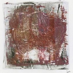 Copper & Mauve Abstract Monotype - Original abstract acrylic monotype created with swirling, interlocking lines by contemporary, Santa Fe-based artist Spe, 2013. Signed lower right.