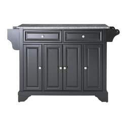 Crosley - LaFayette Solid Granite Top Kitchen Island in Black Finish - Constructed of Solid Hardwood and wood veneers, this kitchen island is designed for longevity. The Beautiful raised panel doors and drawer fronts provide the ultimate in style to dress up your kitchen. Two deep drawers are great for anything from utensils to storage containers. Behind the four doors, you will find adjustable shelves and an abundance of storage space for things that you prefer to be out of sight. Style, function, and quality make this kitchen island a wise addition to your home.