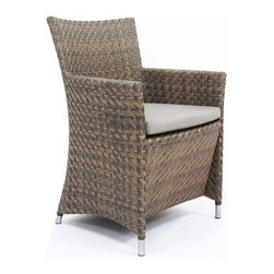 Westminster Teak Furniture - Valencia Woven All Weather Wicker Dining Armchair - Part of the Valencia Collection, this dining armchair is truly an indoor-outdoor furniture with style and functionality. Made of durable extruded polyethylene on powder coated high performance aluminum frame with stainless steel detainling. The furniture is lightweight yet sturdy enough to withstand the rigors of everyday use and the extremities of outdoor weather including temperature fluctuations , UV exposure from sunlight, mold, and mildew. The fibers used have been specifically engineered to replicate not only the look and feel of natural rattan and wicker but its robust characteristics makes for easy care.  Built to commercial specifications.