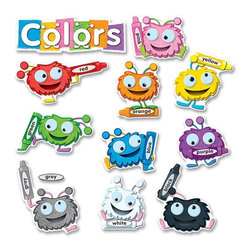 Carson-Dellosa - Carson-Dellosa Fuzzy Bulletin Board Set - 11 Color Critters - 0.1 x 20 x 29.5 - Bulletin board set helps students learn their colors with fuzzy color critters. 13-piece set includes 11 color critters (largest: 18-1/2 x 9), an overlay for the alternate spelling grey, colors header and a teacher resource guide. Colorful critters each have a crayon that matches their color, and the name of the color is written on the crayon. Color Critters Bulletin Board Set is designed for students ages 4 and up.