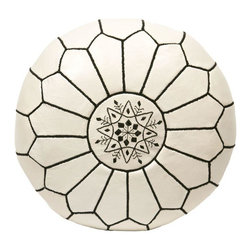 """Pre-owned Embroidered Leather Pouf - Black on White - Authentic Moroccan hand-made leather hassock commonly known as Poof is made out of genuine soft leather. The poof is so practical it can be used as a foot stool, as a low seat next to your coffee table or in your children room. This pouf is pre-stuffed with cotton batting. This provides comfort and durability for the poofs. ‰Ű˘ Zippered bottom opening for easy stuffing. Measurement: Diameter: 20"""" Height: 12"""""""