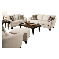 """Acme - 2-Piece Desmond Collection Butler Oyster Fabric Upholstered Sofa Set - 2-Piece Desmond collection butler oyster fabric upholstered sofa and love seat set with flared arms. This set includes the sofa and love seat with padded backs and throw pillows, with flared arms. Sofa measures 88"""" x 39"""" x 38"""" H. Love seat measures 66"""" x 39"""" x 38"""" H. Chair also available separately at additional cost. Some assembly may be required."""
