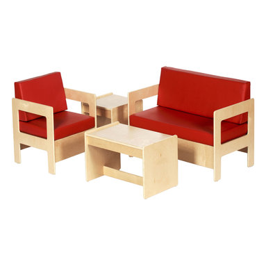 Ecr4kids - Ecr4Kids Children 4 Piece Birch Living Room Set - Cozy, birch hardwood chairs with 2 thick foam padding, includes coffee and end Table. A cozy living room set thats just my size  Durable birch seating group ideal for promoting social interation or providing a quiet spot to read.  Chairs feature cushions filled with thick 2 foam for comfort and support.  Easy assembly - instructions included. Note  Unit only  Accessories not included  Can also be purchased as seperate pieces.