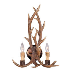 Savoy House Lighting - Savoy House Lighting 9-40022-2-56 Blue Ridge 2 Light Wall Sconces in New Tortois - Antlers and twisted rope detail combine to bring a sense of adventure home in New Tortoise Shell Finish with Cream Drip Candle Covers
