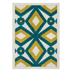 """Loloi Rugs - Loloi Rugs Terrace Collection - Teal / Citron, 1'-8"""" x 2'-6"""" - Bold design and bright colors come together beautifully in the outdoor-friendly Terrace Collection. Each Terrace rug is power loomed in Egypt of 100% polypropylene that's specially treated to withstand rain and UV damage without staining or fading color.�"""