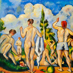 "overstockArt.com - Cezanne - Bathers - 24"" X 36"" Oil Painting On Canvas Hand painted oil reproduction of a famous Cezanne painting, Bathers. Today it has been carefully recreated detail by detail, color by color to near perfection. Paul Cezanne is identified today as the most dominant influence in the abstraction of modern art. Cezanne drew influence from Pissarro and Manet early in his career. As he matured, Cezanne mostly portrayed still lifes in his art and has greatly influenced Cubism, a form of painting. This work of art has the same emotions and beauty as the original. Why not grace your home with this reproduced masterpiece? It is sure to bring many admirers!"