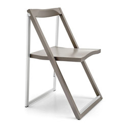 "Calligaris - Calligaris Skip CS/207 - Skip is a folding chair characterised by a sleek design and by the mix between solid wood, on the front, and aluminium, on the back. Lightweight and original: only 2"" deep when folded, it can easily be stored in the Olivia pocket table, on hooks on your wall."