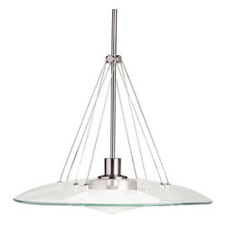 """Kichler - Kichler 2667NI Structures Single-Bulb Indoor Pendant w/Dome-Shaped Glass Shade - Structures lighting employs universal shape to create modern, aesthetically pleasing lighting capable of unmatched versatility, forming a unique and eclectic style all its own. The Structures motif, along with our Brushed Nickel finish and satin-etched glass or Olde Bronze finish and light umber glass, gives a timeless, clean feel to the fixtures, capable of matching any decor. No greater example of this can be seen than with this beautiful Structures Pendant. Measuring 18"""" in diameter by 15"""" high, the Structures Pendant is the ideal selection for open rooms that need a modern touch. It uses 100-watt (max.) bulb, and comes complete with T-3 or T-4 mini-can base, and a tungsten halogen lamp included.Product Features:"""