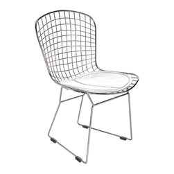 Hampton Modern - Bertoia Style Dining Side Chair, White - This attractive dining or accent chair features a metal wire frame with a leatherette seat cushion.  Very popular for placing around wood table for a modern organic look meshed with modernity.