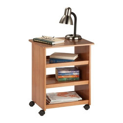 Multipurpose Cart - Honey-Can-Do CRT-03051 Multipurpose Cart, Brown.   Magazine rack, end table, night stand - this multipurpose cart does it all! All three shelves feature raised edges to keep contents in place but can still be accessed from both sides. Four plastic casters make this cart easy and convenient to move from room to room. Rounded corners and a lacquer finish give the cart a contemporary look that matches any decor, and the finish is stain resistant. The cart comes assembled - just insert the casters and it's ready to roll! If you are looking for extra space in the office, bedroom, kitchen or any room in the house, this cart is the storage solution for you.