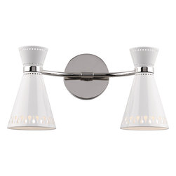 Robert Abbey - Jonathan Adler Havana Double Sconce, White - It takes two to tango, in this case salsa… with the Jonathan Adler Havana double sconce, available in black or white. You'll dig the cutout metal shades and contemporary industrial feel of the duo and maybe even break out your rendition of Desi Arnaz' babalu.