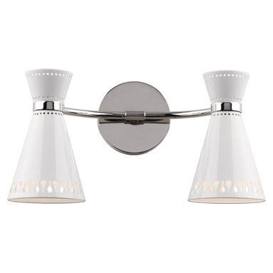 Robert Abbey - Jonathan Adler Havana Double Sconce - It takes two to tango, in this case salsa… with the Jonathan Adler Havana double sconce, available in black or white. You'll dig the cutout metal shades and contemporary industrial feel of the duo and maybe even break out your rendition of Desi Arnaz' babalu.