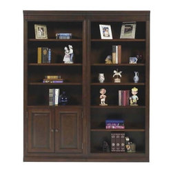 Winners Only - Classic Bookcase Set - One fixed and four adjustable shelves. Left side has two doors. Right side has six shelves. Cherry finish. 64 in. W x 15 in. D x 78.5 in. H