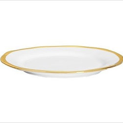 """Caroline Porcelain Dinner Plate, Set of 4, Gold - Make a celebration even more memorable with a thoughtful gift. Handcrafted with gently uneven rims, our new Caroline Registry dinnerware has understated glamour that's just right for both formal and casual settings. We've wrapped it in a beautiful gift box so it's ready for giving on any special occasion. Dinner Plate: 11"""" diameter, 1"""" high Salad Plate: 8.5"""" diameter, 1"""" high Bowl: 9"""" diameter, 2"""" high; 5.5 fluid ounces Cup: 4.5"""" wide x 3.5"""" deep x 3"""" high Saucer: 6"""" diameter Made of porcelain with a glazed finish. Gold trim. Set of 4, choose dinner plate, salad plate, or cup-and-saucer set. Packaged in a beautiful PB storage box. Dishwasher-safe. Gold is Catalog / Internet only. Read more on our blog about the inspiration behind this product."""