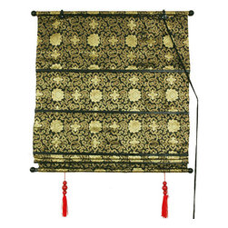 Oriental Furniture - Shang Hai Tan Blinds - Black/Gold 48 Inchx72 Inch, Width - 48 Inches - - Black/Gold-colored roman blinds with a traditional Asian design bring an authentic feel to your home.  Available in three sizes so you are sure to find the perfect fit for your window. Oriental Furniture - WTROMABL-48x72