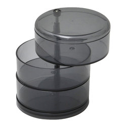 Jewelry Storage Swivel 3-Tier Eve Ps Grey - This 3-tier jewelry swivel storage Eve for bathrooms is made of durable polystyrene and is the stylish solution for storing and organizing jewelry and other small loose items. Features three roomy swivel drawers to store rings, earrings, necklaces, bracelets and more. Diameter of 5.43-Inch and a height of 9.33-Inch. Wipe clean with soapy water. Color grey. Accessorize your bathroom and neatly organize your jewelry with this jewelry storage! Complete your Eve decoration with other products of the same collection. Imported.