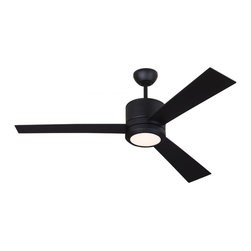 Monte Carlo - Vision Ceiling Fan - Vision Ceiling Fan is available in Rubberized White, Brushed Steel and Walnut, Rubberized Black or Oil Rubbed Bronze with Frosted Acrylic glass. Available as a small or large. Triple capacitor, reverse motor.  Precision balanced motor and blades for wobble-free operation.  12 degree blade pitch for optimal air.  Includes Wall / Hand Remote with reverse and downlight.  One 17 watt, 120 volt LED bulb is included. Small: 42 inch width x 14.59 inch height. Large: 52 inch width x 14.59 inch height. cUL Listed for Dry Locations