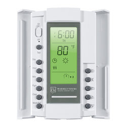 "Warmly Yours - Thermostat SmartStat GFCI 5mA & AF Sensor Dual Branded - The SmartStat dual voltage programmable thermostat can be used with 120-volt and 240-volt floor heating systems. Includes an in-floor sensor and a digital display that indicates the exact floor temperature. It also features a manual setback to a ""high"" and a ""low"" temperature level, and it features a built-in electric GFCI. The programmable function allows you up to 4 setting changes for each day of the week. For installations utilizing more than 240 square feet of electric radiant floor heating product, a Master Thermostat with Power Module or a Relay Contactor is also required."