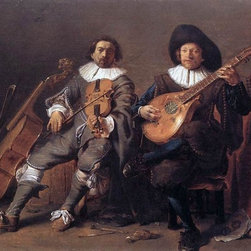 "Cornelis Saftleven The Duet - 16"" x 24"" Premium Archival Print - 16"" x 24"" Cornelis Saftleven The Duet premium archival print reproduced to meet museum quality standards. Our museum quality archival prints are produced using high-precision print technology for a more accurate reproduction printed on high quality, heavyweight matte presentation paper with fade-resistant, archival inks. Our progressive business model allows us to offer works of art to you at the best wholesale pricing, significantly less than art gallery prices, affordable to all. This line of artwork is produced with extra white border space (if you choose to have it framed, for your framer to work with to frame properly or utilize a larger mat and/or frame).  We present a comprehensive collection of exceptional art reproductions byCornelis Saftleven."