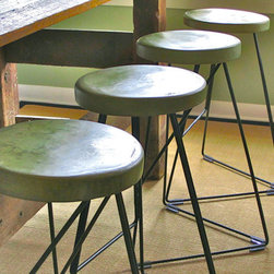 Concrete And Steel Indoor And Outdoor Coleman Stool By Greta de Parry - If you are lucky enough to have an outside bar area, then bar stools are a necessity. These handmade minimal and sleek stools are beautiful and there are no worries on using them outside since they are concrete and steel.