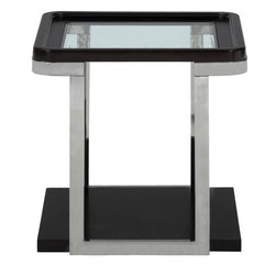"""Jofran - Skyline Merlot End Table With Stainless Steel Frame - Decorate your home with the futuristic aesthetic of the Skyline Merlot collection. Crafted with the words """"sleek"""" and """"modern"""" in mind, this collection features a solid Asian hardwood construction with birch veneers, tempered glass and stainless steel elements. Each piece has an extremely open aesthetic with a see-through glass top and bottom storage base. The stainless steel frame and Merlot finish really add to the contemporary look by combining a high-shine metallic with a dark hued finish. Use this collection in casual, contemporary and modern room settings. (The glass tops make this group particularly ideal for family rooms since they can be easily wiped down.) Modern day value and space age style combine in this living room end table. Crafted to create a fresh look without breaking the bank, this piece features a construction that includes birch veneers over Asian hardwoods and a stainless steel frame. The metallic shine combines with a dark Merlot finish for a standout accent while the shell-like base creates space for open storage. Ideal for family rooms, this end table is equipped with a tempered glass top that can be easily wiped down if a beverage should drip."""
