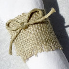 Rustic Burlap Napkin Rings Set of 4 by Splendid Events - Finish a fall tablescape off with handmade burlap napkin rings. The twine bow is the perfect feminine accent to the rustic material.