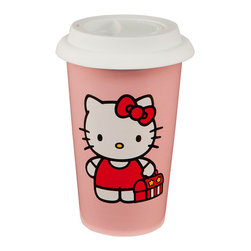 Hello Kitty - Hello Kitty Double-Walled Ceramic 12-Oz. Travel Mug - Hello Kitty isn't just for kids—she also makes the perfect tea and coffee companion well into adulthood. This charming travel mug with a silicone lid will always add a nostalgic smile to a sip of chamomile or French Roast.   Includes mug and lid 5.75'' H x 3.75'' diameter Holds 12 oz. Ceramic / silicone Microwave and dishwasher safe Imported