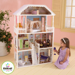 KidKraft - Savannah Dollhouse - The Savannah Dollhouse is one of KidKraft's most elegant dollhouses to date. Decorated like a true southern mansion, this gorgeous house is sure to provide girls with hours of fun, imaginative play. Features: -Includes thirteen pieces of colorful furniture. -Made of wood. -Sturdy construction. -Four levels and six rooms of open space. -Wide windows allow dolls to be viewed from multiple points of view. -Full outdoor patio area. -Large enough that multiple children can play at once. -Accommodates all fashion dolls up to 11.5 tall.