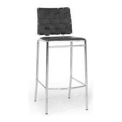 Baxton Studio - Baxton Studio Vittoria Black Leather Modern Bar Stool (Set of 2) - Add stylish seating to your kitchen at home or use our Vittoria Modern Bar Stool as the perfect leather bar furniture or restaurant bar stool. Durable black bonded leather on the seat is smooth and is accented with contrasting cream stitching. Conversely, the leather on the backrest is intricately woven. Light foam padding adds additional comfort. The dependable steel frame is beautifully finished with high-shine chrome plating and tipped with non-marking feet. The Vittoria Stool is fully assembled and is made in China. To clean, wipe with a damp cloth. also available (sold separately) are matching counter height stools and each is also offered in brown leather.
