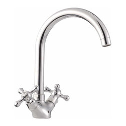 "The Renovators Supply - Faucets Chrome Cane Neck Single Hole Swiveling Faucet | 13134 - Chrome on brass single hole swiveling faucet. Labeled ""H"" and ""C"" cross handles, swiveling spout works for kitchens and even bathrooms. You will not find a better faucet for this price! If you need an 8 inch widespread, just add the 8 inch widespread plate (#13884) to make it work for you."