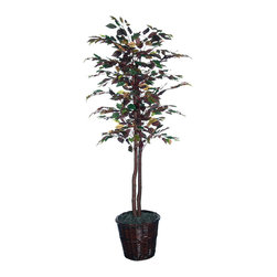 Vickerman - 6' Mystic Ficus Tree - 6' Mystic Ficus Tree, natural hardwood trunks. Dark brown Rattan basket and American made excelsior