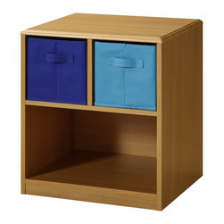 4D Concepts - 4D Concepts Boy's Nightstand in Beech - This juvenile Nightstand has Navy and light blue accents just right for your child's bedroom! The top of unit is shaped and corners are eased so there are no sharp edges. The colorful ready-to-unfold canvas drawers are accented with handles attached on two sides of the drawers. These drawers are great for holding your games, controllers, clothes, toys or any of your storage needs. The drawers rest gently on the shelf and can be carried with the handles to take with you to any room in the house.  This nightstand fits perfectly next to any kids bed.  Constructed of Composite Board and highly durable PVC laminate. Clean with a dry non abrasive cloth. Ready to Assemble with Cam and Dowel Construction