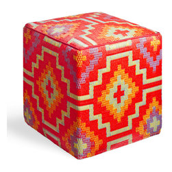 Fab Habitat - Lhasa - Orange & Violet Cube - Stunning, bold geometric shapes are showcased in this modern, eco-chic cube. You'll adore having this vibrant, handmade piece in your home, with its recycled materials that are easy to clean, and its Tibetan-inspired vivid colors.