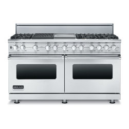"Brigade Professional 60"" Custom Sealed Burner Dual Fuel Range - The flagship of the Custom range series, the 60"" wide dual fuel model offers the ultimate in capacity, power, and performance. The 15,000 BTU gas burners are equipped with the VSH™ (VariSimmer-to-high) Pro Sealed Burner system, ensuring a consistent flame from the most delicate simmer to a roaring boil. The front right burner also delivers an 18,500 BTU TruPower™ setting. Down below, the electric self-cleaning oven boasts the largest convection fan in the industry for the perfectly even heat only real convection cooking provides."
