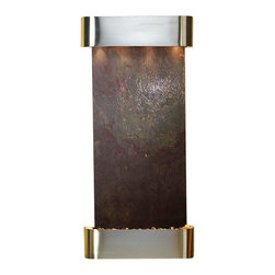 Adagio Water Features - Cascade Springs Wall Fountain, Stainless Steel, Rajah Featherstone, Round Frame - Comes complete with polished river rock, halogen lighting, and electric pump.