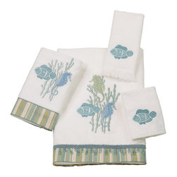 Avanti Linens - Reef Life 4 Piece Cotton Towel Set by Avanti Linens - These cotton sheared velour towels bring the beauty of the sea to your bathroom with a collection of embroidered and appliqued seahorses, fish and coral. The striped fabric and dangling beaded trim is a charming accent. The color of the towels is white.