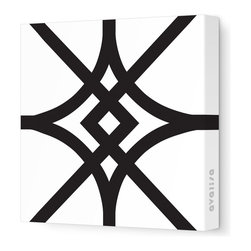 """Avalisa - Pattern - Diamond Stretched Wall Art, 28"""" x 28"""", Black - Here's a real gem for your walls. Bold, graphic lines in a rainbow of color choices form an overlapping, stylized diamond pattern on white, stretched fabric. Pick one in your choice of sizes or get four or more to create a dazzling grid."""