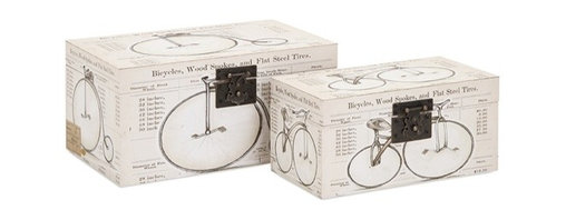iMax - Buchanan Bicycle Boxes, Set of 2 - Big wheels: Leather look covers wrap a pair of decorative storage boxes sporting vintage bicycle prints.